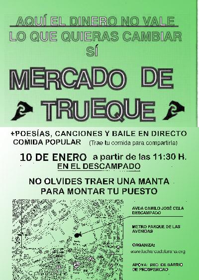 Cartel Mercado Trueque en La Charca de la Rana