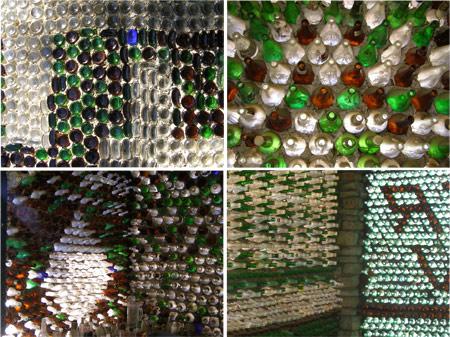 Casas a partir de botellas de vidrio de Roadside Architecture en http://www.agilitynut.com/h/otherbh2.html