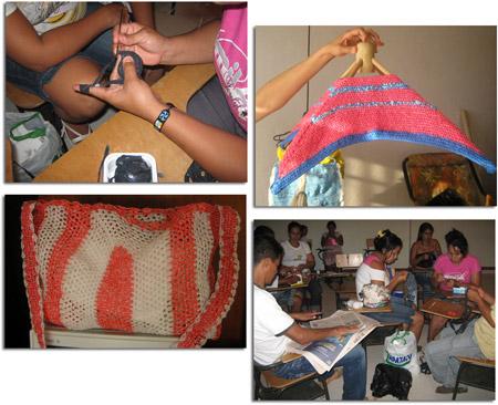 Proyecto en Putumayo - Tejer con bolsas plástico - Reciclaje.