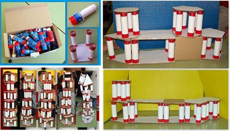 Estructuras con botes de pegamento - Reciclando en la escuela