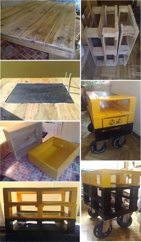 Mesa hecha con palés por Nils - pistakevienelartista.blogspot.com