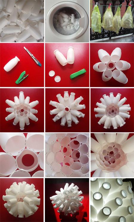 Lámpara con envases de yogurt - Reciclantes