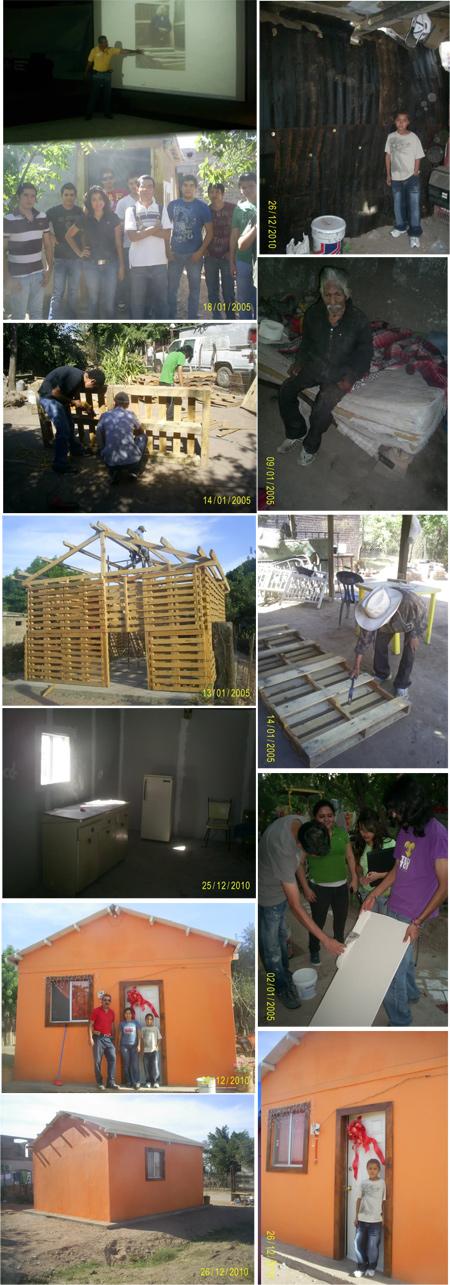 Viviendas populares autoconstruidas con tarimas de madera y otros materiales reciclables