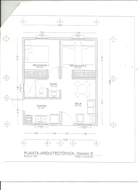 Plano de 42 m2 - Vivienda hecha de tarima - Mario A. Tapia