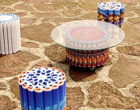Serie Mandala - Mesa y taburetes hechos con papel - rubcn