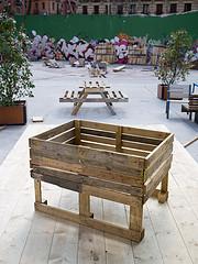 Jardinera hecha con palés - Campo de la Cebada