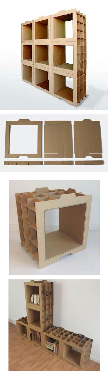 Estantería modular con cartón reciclado - Dany Gilles