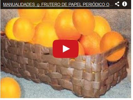 MANUALIDADES ☺ FRUTERO DE PAPEL PERIÓDICO O DIARIO POR GEORGIO - newspaper basket fruit bowl
