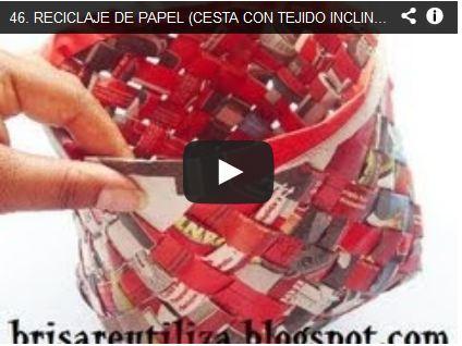 RECICLAJE DE PAPEL (CESTA CON TEJIDO INCLINADO)- DIY BASKET