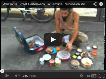 Awesome Street Performer's Homemade Percussion Kit by Bloopzone!!!