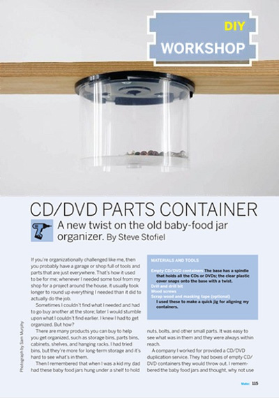 CD/DVD Parts Container in Makezine