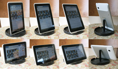 Super easy free adjustable Tablet-Stand from cd spindle de Instructables