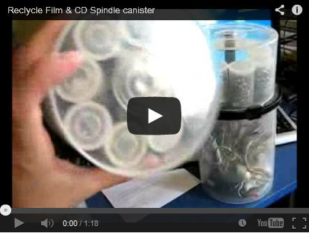 Reclycle Film & CD Spindle canister by Cristian Szwarc