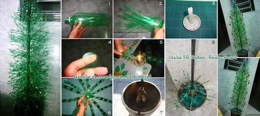 Árbol a partir de botella de plástico