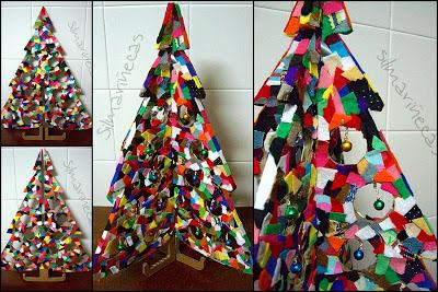 DIY- Árbol de navidad de cartón y sobras de fieltro - silmarinecas.com