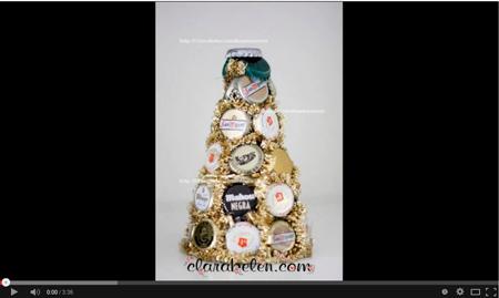 Manualidades de reciclaje: Árbol de Navidad hecho con chapas o corcholatas - Clara Belen Gomez
