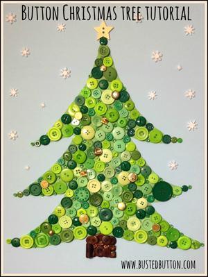 Árbol de navidad hecho con botones - bustedbutton.com