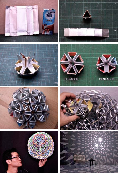 Lámpara Tetrabox - Reciclando tetrabricks - Recileaks - Ed Chew