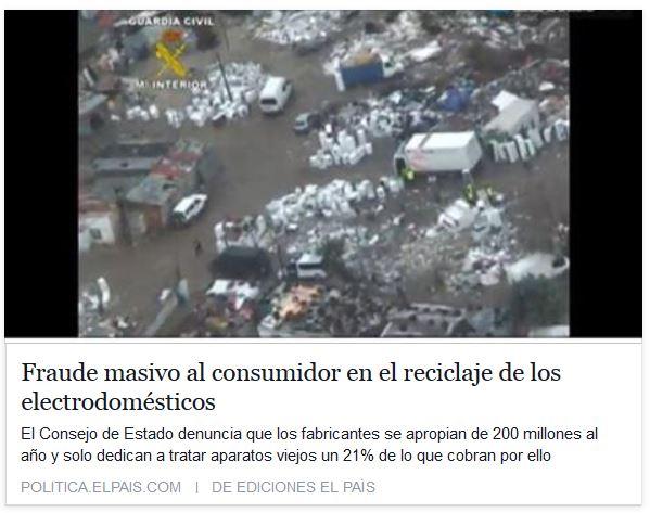 Noticia Fraude a los consumidores en el reciclaje de electrodomésticos - ElPais