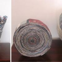 Artesanía en reciclaje de papel, bolsas plásticas y envases plásticos